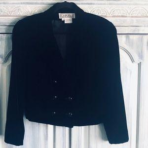 Carlisle Black Velvet Double Breasted Waist Jacket